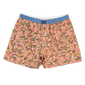 Hanover Flamingos Boxer in Coral & Lime by Southern Marsh
