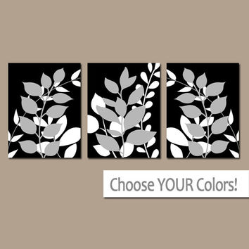BLACK GRAY Wall Art, Bedroom Pictures, Leaves CANVAS or Prints Leaf Bathroom Artwork, Foliage Pictures, Flower Art, Set of 3 Home Decor