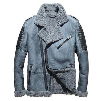 MAXMACCONE men coat biker Shearling leather Plus Size Thick Russian shearling Jacket