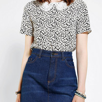 Urban Outfitters - Cooperative Monochrome Embroidered-Collar Top