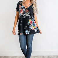 Jayden Floral Top (Black)