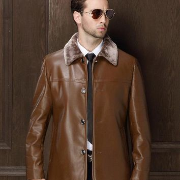 Genuine Leather Jacket For Men  With Faux Fur Collar