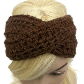 Brown Crochet Turban Winter Headband