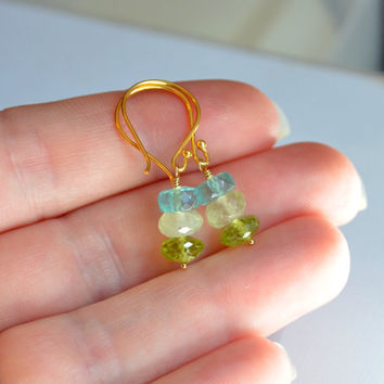 NEW Gemstone Drop Earrings, Aqua Blue and Lime Green, Apatite, Prehnite, Peridot, Vermeil, Simple Gold Jewelry, Free Shipping