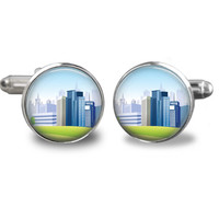 City Cufflinks - Love jewelry - Birthday gift - gifts for men - cuff links accessories - christmas gifts for dad - gift for him