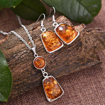 Women Vintage Retro Platinum Plated Amber African Jewelry Sets Necklace Earrings Wedding Sets Color Natural Stone Jewelry