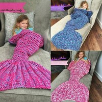 Super Handmade Crocheted Mermaid Blanket Cocoon Knit Beach Quilt Rug rose purple
