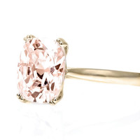 Cushion Morganite Ring Double Prong Solitaire Morganite Engagement Ring 14K White Yellow Rose Gold Bridal Jewelry