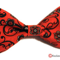 Fabric Hair Bow - Floral, Red and Black - Womens Bow, for Teens, Flower, Asian Inspired, Gifts Under 10