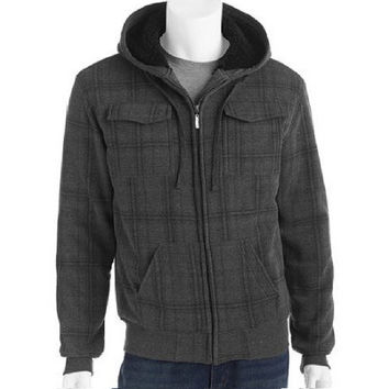 Climate Men's Plaid Cargo Fleece Jacket w/Sherpa Lining, Small, Charcoal Grey