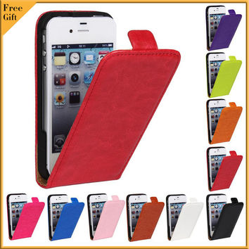 Luxury Cover Case For iPhone 4 4S Fashion Flip Vertical Phone Cover Genuine PU Leather Case For iPhone 4 4S 4G Protect Shell Bag
