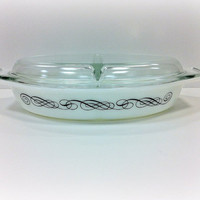 Vintage Pyrex Black Scroll Divided Dish with Lid