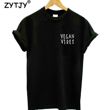 Tops and Tees T-Shirt VEGAN VIBES Pocket Letters Print Women  Cotton Casual Funny t Shirt For Girl Top Tee Hipster Tumblr  Ship HH-30 AT_60_4 AT_60_4