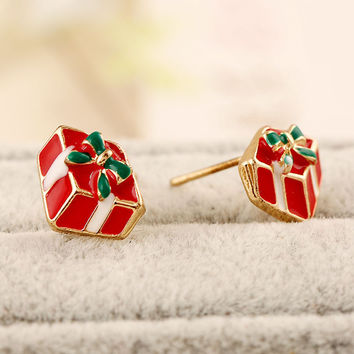 Red Gift Box Shaped Earrings