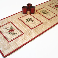 Christmas Table Runner, Vintage Christmas Cards