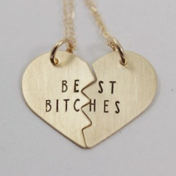 Best Bitches - Brass Broken Heart Necklace Set