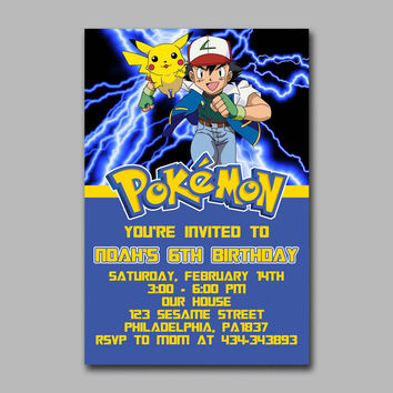 ADF 269 Pokemon Lightning Pikachu Kids Birthday Invitation Party Design