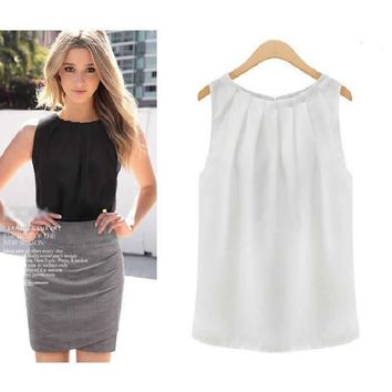 Sleeveless Solid Chiffon Shirt Office Work Blouse Top Hot Black/White Tops Shirts Good Clothes