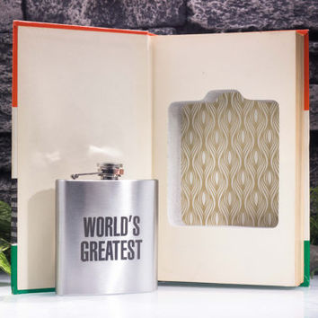 Vintage Hollow Book Safe and Hip Flask - Guiness Book of World Records (1968) — Custom Engraving — World's Greatest