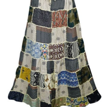 INDIAN VINTAGE PATCHWORK MAXI SKIRT PRINTED BOHO GYPSY HIPPIE A-LINE SKIRTS