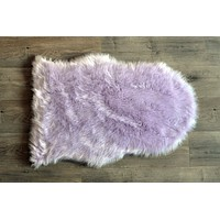Machine Washable Faux Sheepskin Lavender Area Rug