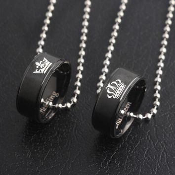 Cool SG New Black Lover His Queen Her King Crown Letter Round Pendant Necklaces For Couple Women Men Valentine's Day Gift JewelryAT_93_12