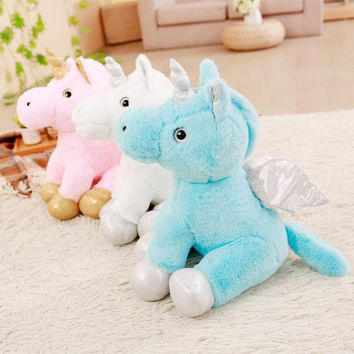 Miaoowa 1pc 40cm Kawaii Soft Plush Horse with Wings Staffed Cute Animal Cartoon Unicorn Plush Toys Lovely Kids Doll Pillow Gift