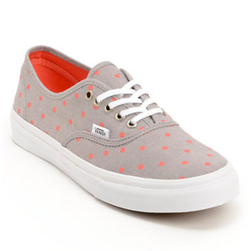 Vans Authentic Slim Grey Chambray & Coral Polka Dot Shoe