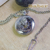 Antique Silver Semipermeable Phoenix Pocket Watch Chain G113