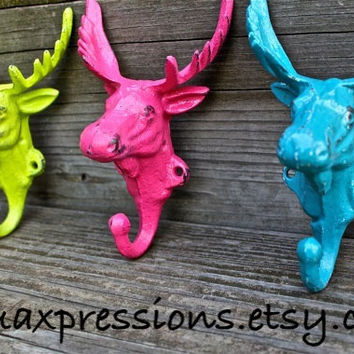 "Set of 3 Bright ""Moose Head"" cast iron Wall Hook: YOU PICK the COLORS/ Shabby Chic/  Lodge, Cabin Decor/ Key Hanger, Coat Rack, Towel Holder"