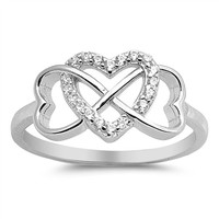 Sterling Silver Triple Heart Infinity Ring