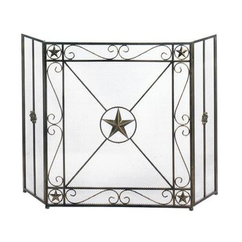 Rustic Lone Star Fireplace Screen