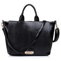 Animal Pattern Leather Handbag with Detachable Strap