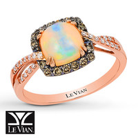 LeVian Natural Opal Ring 1/4 ct tw Diamonds 14K Rose Gold