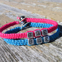 Neon Pink and Turquoise BAE Bracelets, Before Anyone Else, Handmade Hemp and Bamboo Jewelry for Couples