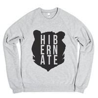 Hibernate Bear Head-Unisex Heather Grey Sweatshirt