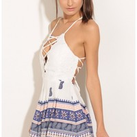 Rompers/Jumpsuits > Lace-Up Patterned Hem Romper In Blue