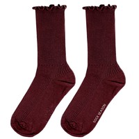 Princess Lulu Ruffle Socks | Maroon