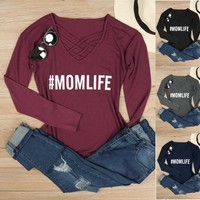 2017 Spring New Women Mom Life Criss - Cross Letters Printing Long Sleeve T-shirt Top