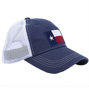 Texas Flag Trucker Hat in Navy by State Traditions