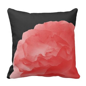 "Deep Coral Pink Rose Petals 16"" Square Pillow"