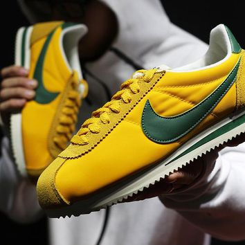 zz kuyou Nike Classic Cortez Men Women Sport Basketball Shoes Yellow Green36-44
