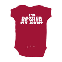 "Red Short Sleeve Baby Bodysuit with Funny ""I'd Rather Be with my Aunt"" Design - Baby Clothes - Cute Gift Idea"