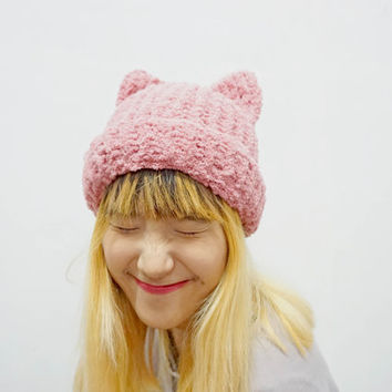 Fluffy kitty knitted hat, cat ear hat