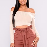 Jazelle Off Shoulder Tops - Taupe