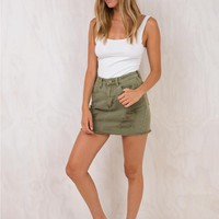 Thrills Army Green Patti Skirt