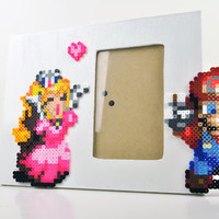 Super Mario and Peach Nintendo Picture Frame Perler Bead