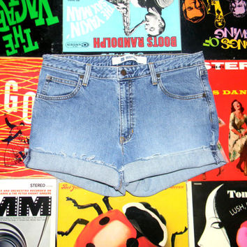 High Waisted Denim Shorts - 90s Stone Washed GAP Stretch Jean Shorts - Cut Off, Frayed, Rolled Up, Faded, Distressed Size 10 12 L