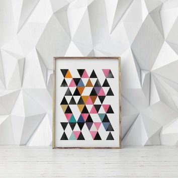 ABSTRACT TRIANGLES,Digital Art,Abstract Design,Watercolor Triangles,Home Decor,Wall Decor,Apartment Decor,Gallery Decor,Geometric Print
