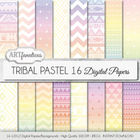 "Pastel digital paper ""Tribal Pastel"" digital paper tribal patterns in pastel colored with arrows, triangles for scrapbooking, invitations"